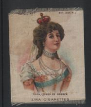 RARE old 1910 Silk cigarette card Queen of Greece